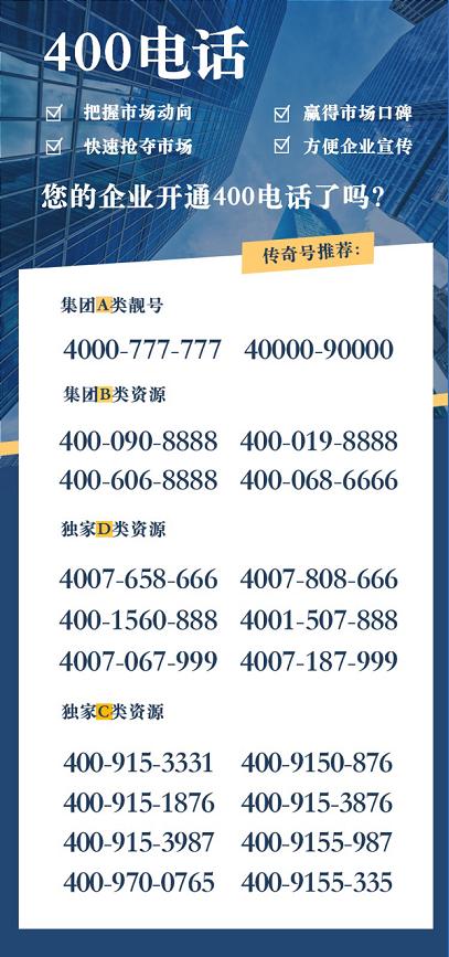 """020年8月11日:今日400电话推荐"""""""